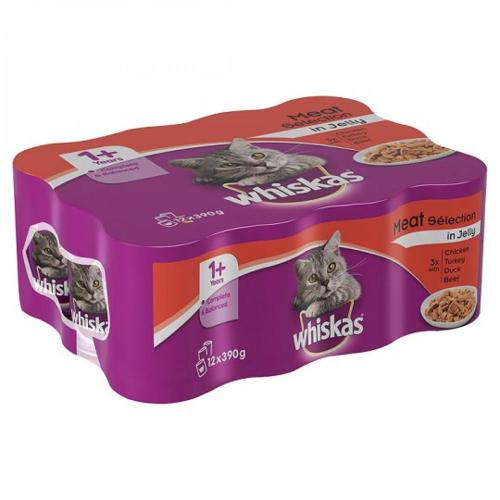 Whiskas 1+ Meat In Jelly 12x390g