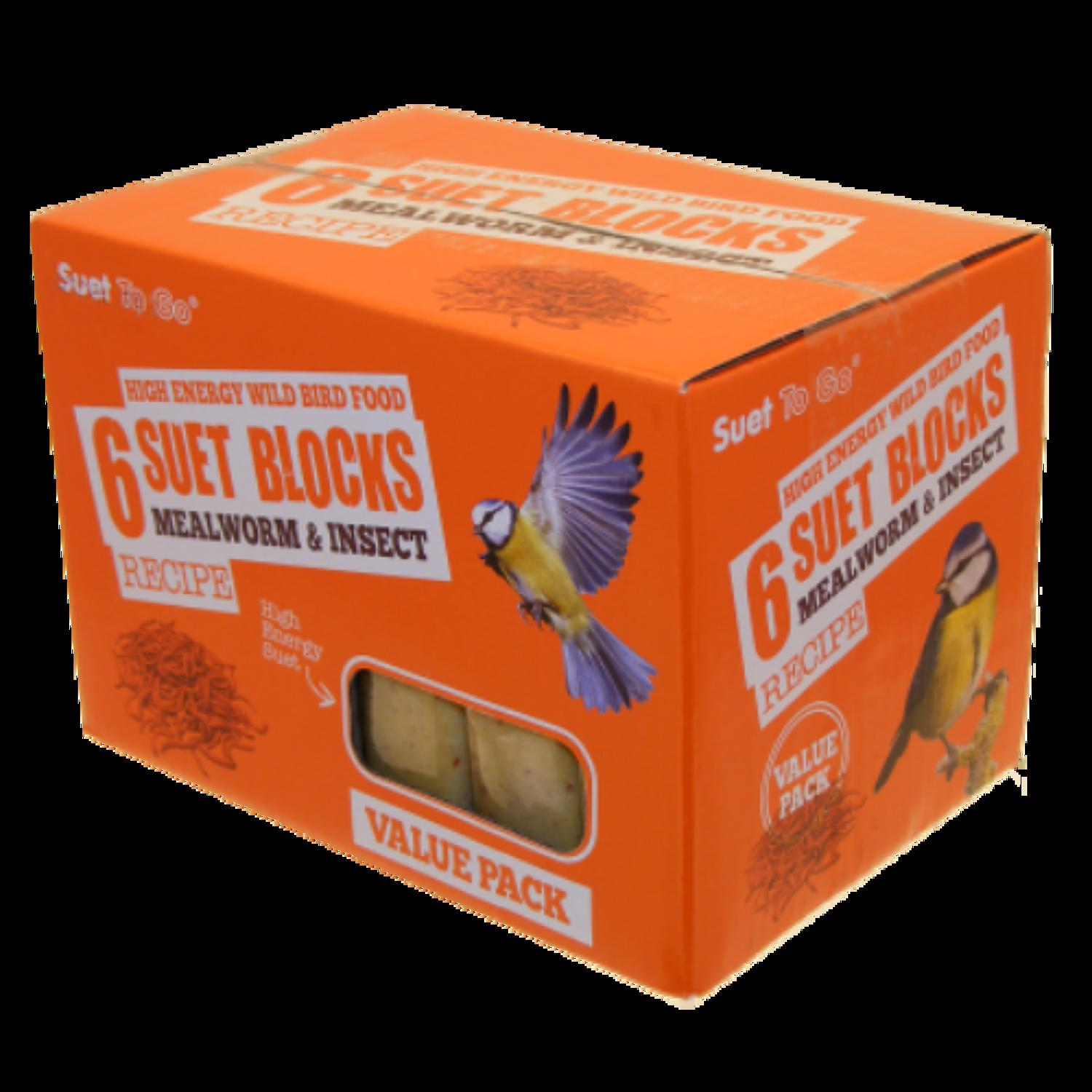 SuetToGo Mealworms&Insect Suet Blocks 6Pk