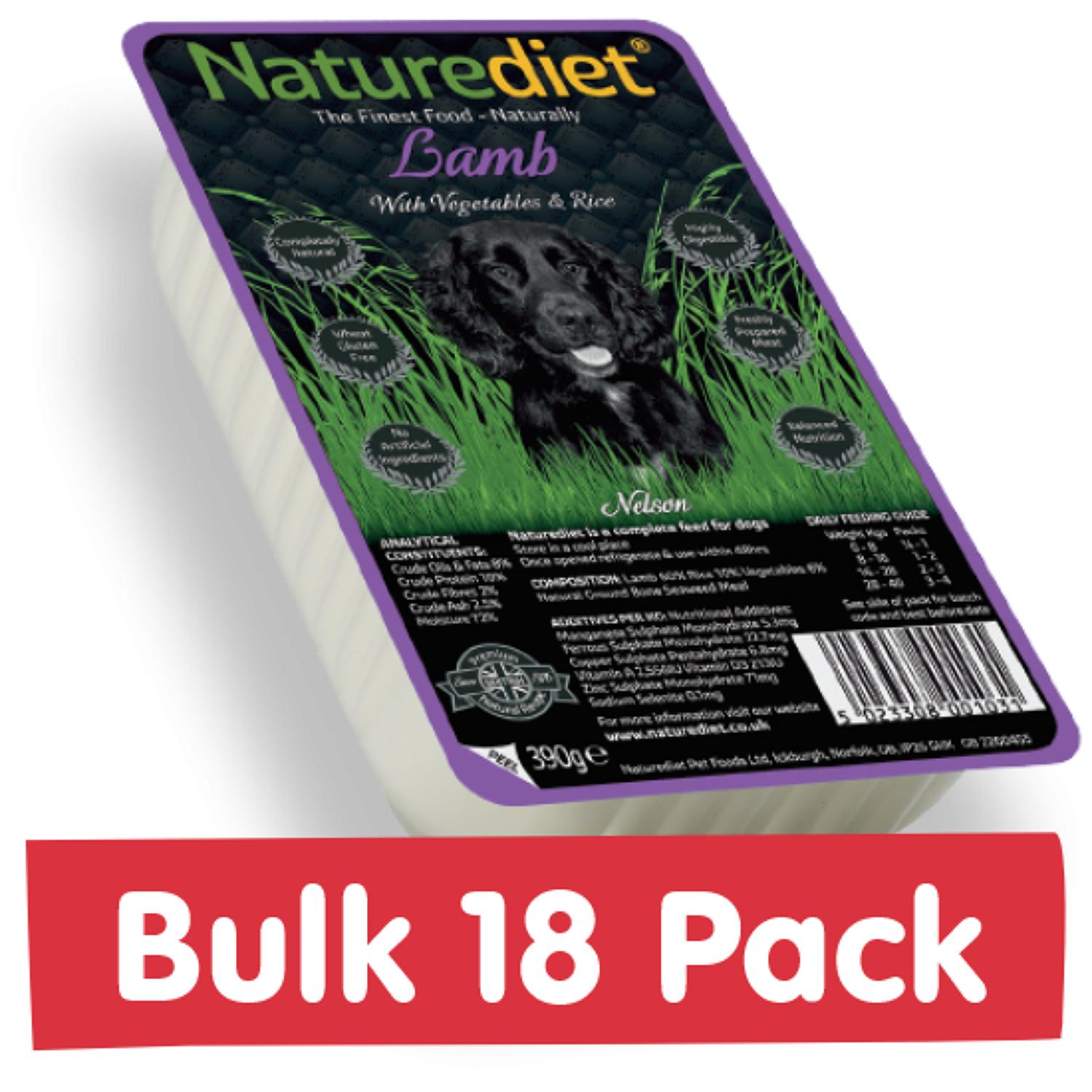 NatureDiet Lamb, Veg & Rice 18x390g