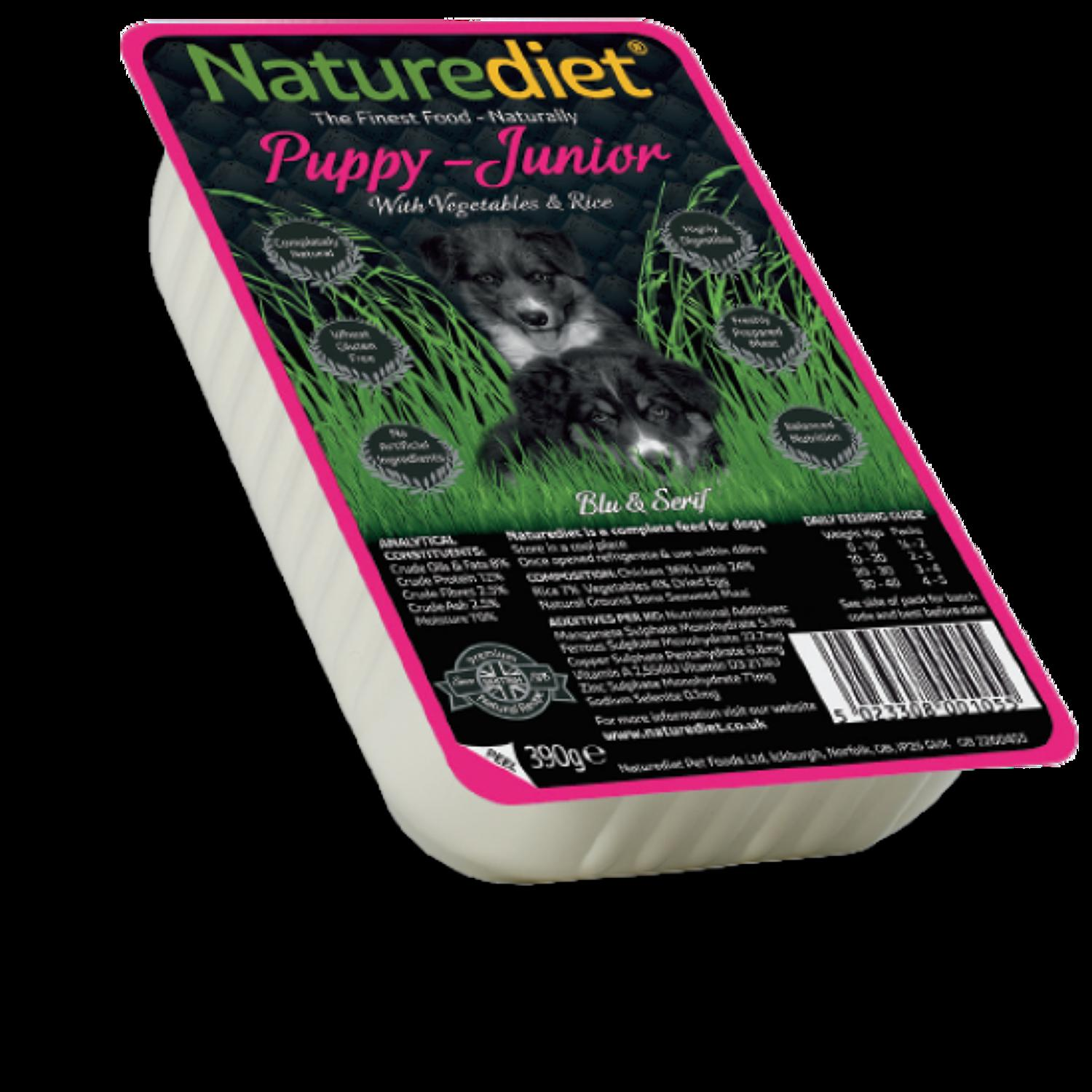 NatureDiet Puppy/ Junior, Veg & Rice 390g
