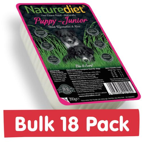 NatureDiet Puppy/ Junior, Veg & Rice 18x390g