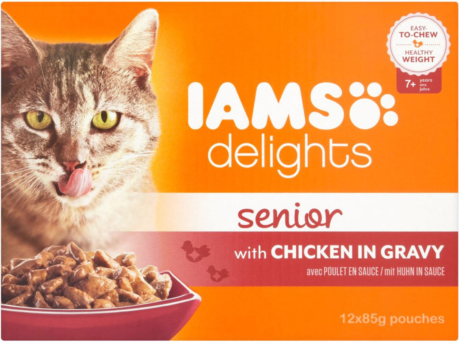 IAMS Cat Pouch Senior Chicken In Gravy 12x85g