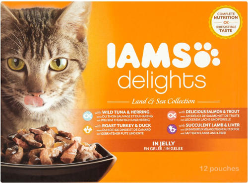 IAMS Cat Pouch Land & Sea In Jelly 12x85g