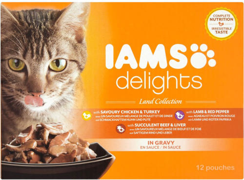 IAMS Cat Pouch Land & Sea In Gravy 12x85g