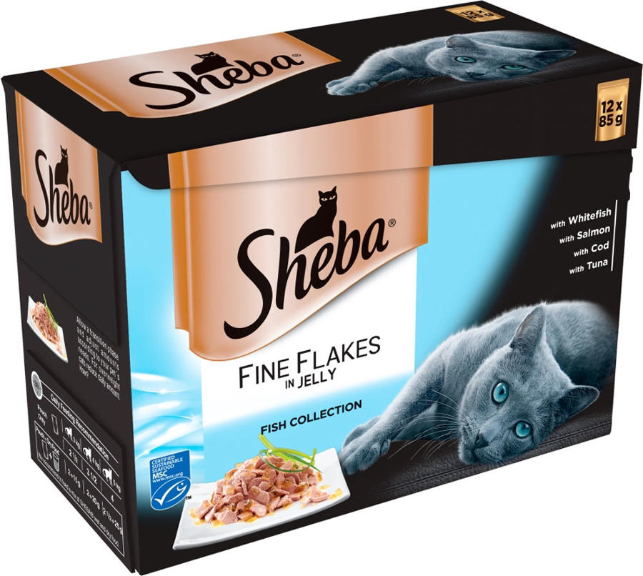 Sheba Pouch Fine Flake Fish In Jelly 12x85g